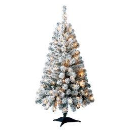 Holiday Time Pre-Lit Greenfield Pine Flocked Artificial Christmas Tree, 4', Mini Clear Lights   Walmart (US)