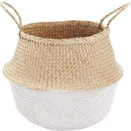 Foldable Medium White Bottom Seagrass Belly Basket with Handles for Storage, Nursery Laundry Tote...   Amazon (US)