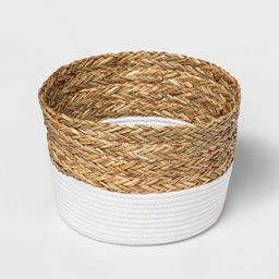 Round Basket in Braided Matgrass & White Coiled Rope - Threshold™   Target