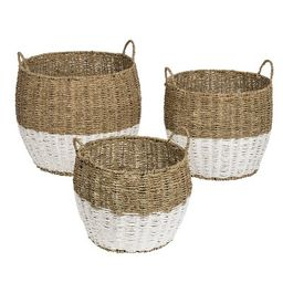 Honey-Can-Do 3pc Nested Round Baskets Light Brown   Target