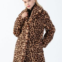 Brown Leopard Faux Fur Longline Coat with Collar | Chicwish