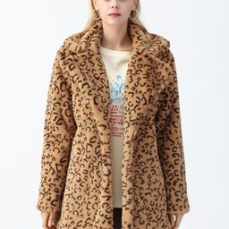 Collared Leopard Faux Fur Coat in Tan | Chicwish