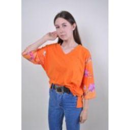 90S Orange Blouse, Floral Pattern Sleeve, Women Vneck Shirt, Size M | Etsy (US)