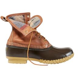 """Men's Tumbled-Leather 8"""" Bean Boots, Chamois-Lined 