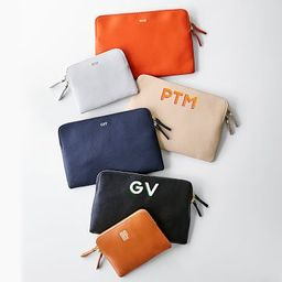 Everyday Italian Leather Zipper Pouch, Shadow Printed | Mark and Graham