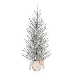 """Holiday Time Snow Capped Green Fir Tree with Burlap Base, 36"""" 