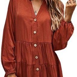 Angashion Women Tunic Tops Casual Solid Long Sleeve Ruffle V Neck Button Down Loose Babydoll Shir... | Amazon (US)