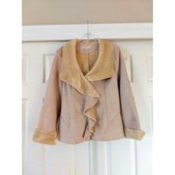 Faux Sheepskin Jacket, Winter Light Jacket, Faux Suede, Faux Fur, Light Beige, Neutral Color, Dressb   Etsy (US)