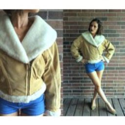 Vintage 80S Tan Shearling Faux Fur Aviator Coat Medium Bomber Jacket Oversized Collar Suede Leather    Etsy (US)