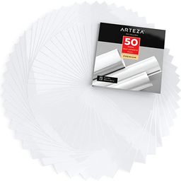 """ARTEZA Self Adhesive Vinyl Sheets, 12""""x12"""", Glossy White, Pack of 50, Waterproof and Easy to Weed... 