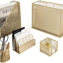 Blu Monaco 5 Piece Cute Office Supplies Gold Desk Organizer Set - with Desktop Hanging File Organ... | Amazon (US)
