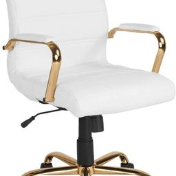 Flash Furniture Mid-Back White LeatherSoft Executive Swivel Office Chair with Gold Frame and Arms | Amazon (US)