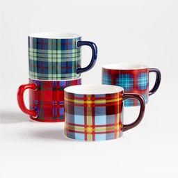 Folke Plaid Mugs, Set of 4 | Crate and Barrel | Crate & Barrel
