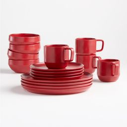 Visto 4-Piece Red Stoneware Place Setting | Crate and Barrel | Crate & Barrel