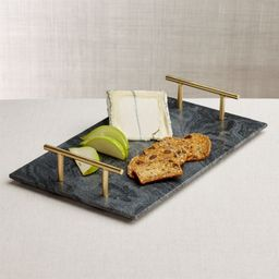 Hayes Marble Serving Board with Handles + Reviews | Crate and Barrel | Crate & Barrel