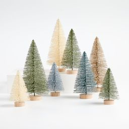 Sage and Silver Bottle Brush Christmas Trees, Set of 8 + Reviews | Crate and Barrel | Crate & Barrel