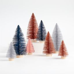 Pink and Blue Bottle Brush Trees, Set of 8 | Crate and Barrel | Crate & Barrel