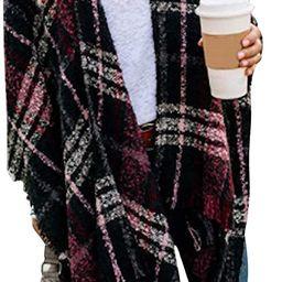 VIMPUNEC Women Boho Buffalo Plaid Poncho Pashmina Shawl Wrap Cape Sweater Knitting Cardigan with ...   Amazon (US)