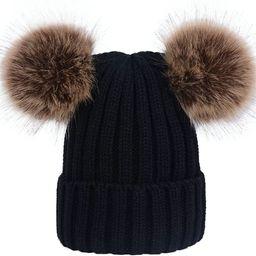 wanture Winter Women's Winter Knit Wool Beanie Hat with Double Faux Fur Pom Pom Ears   Amazon (US)