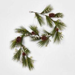 6' Unlit Green Leaves Artificial Christmas Garland with White Berries & Pinecones - Wondershop™   Target