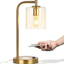 Brightech Elizabeth Office Desk Lamp - Wireless Charging Pad and USB Port – Living Room Table L... | Amazon (US)