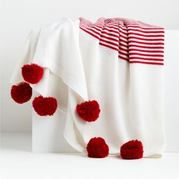 Striped Red Pom Pom Throw + Reviews | Crate and Barrel | Crate & Barrel