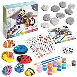 KipiPol Rock Painting Kit for Kids - DIY Arts and Crafts Set for Girls, Boys Ages 3, 4, 5 and Up ... | Amazon (US)