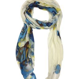 East Cloud Women's Accent Scarves - Aqua Blue & Rust Impressionist Expression of Rose Art Scarf | Zulily