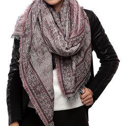 Barrington Women's Cold Weather Scarves BURGUNDY - Burgundy Jacquard Fringe-Accent Oversize Scarf -    Zulily