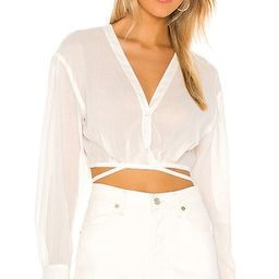 L'Academie The Jaida Crop Blouse in White. - size M (also in L) | Revolve Clothing (Global)
