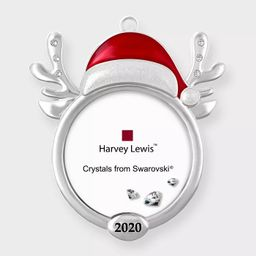 Harvey Lewis 2020 Reindeer Frame Ornament with Crystals from Swarovski   Target