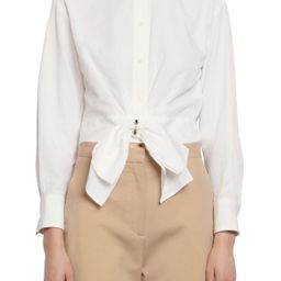 Women's Sandro Crop Shirt With Removable Bow, Size 0 - White | Nordstrom