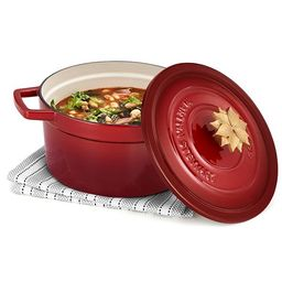 4-Qt. Enameled Cast Iron Round Dutch Oven with Poinsettia Finial, Created for Macy's   Macys (US)