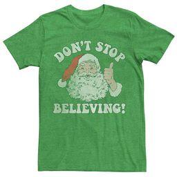 Men's Santa Claus Don't Stop Believing Vintage Christmas Graphic Tee, Size: Medium, Med Green | Kohl's