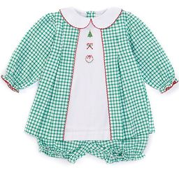 Baby Girls 3-24 Months Long-Sleeve Holiday Embroidered Checked Print Dress & Bloomer Set | Dillards