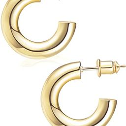 wowshow Chunky Open Hoops Thick Gold Hoop Earrings for Women and Girls | Amazon (US)
