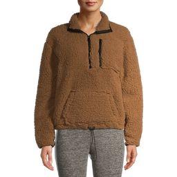 No Boundaries Juniors' Cinched Waist Half-Zip Sherpa Pullover | Walmart (US)