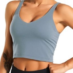 Women's Longline Sports Bra Wirefree Padded Medium Support Yoga Bras Gym Running Workout Tank T...   Amazon (US)