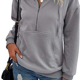 PRETTYGARDEN Women's Casual Long Sleeve Lapel Zipper Sweatshirt Drawstring Loose Pullover Tops ... | Amazon (US)