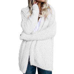 Avamo Women Fuzzy Chunky Cardigan Popcorn Oversized Sherpa Slouchy Open Sweater Coat Oversize S-5... | Walmart (US)