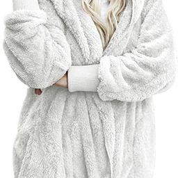 Dokotoo Womens Long Sleeve Solid Fuzzy Fleece Open Front Hooded Cardigans Jacket Coats Outwear wi... | Amazon (US)