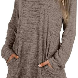 XIEERDUO Womens Casual Sweatshirts Long Sleeve Shirts Oversized with Pocket Tunic Tops S-2XL | Amazon (US)