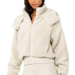 Alo Yoga®   Foxy Sherpa Jacket in Bone, Size: Medium   Alo Yoga