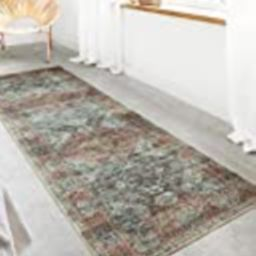 """Loloi ll Skye Collection Printed Distressed Vintage Area Rug, 2'-6"""" x 7'-6"""", Apricot/Mist 