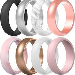 ThunderFit Silicone Rings Wedding Bands for Women - 8 Rings / 4 Rings - 5.5mm Wide - 2mm Thick | Amazon (US)