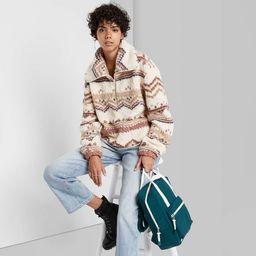 Women's Quarter Zip Sherpa Pullover Sweatshirt - Wild Fable™ | Target
