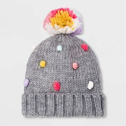 Girls' Knitted Pom Beanie - Cat & Jack™ Gray One Size   Target
