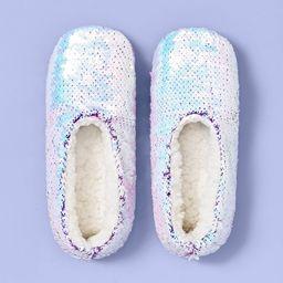 Girls' Flip Sequin Slipper Socks - More Than Magic™ Purple   Target