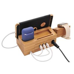 Airpods Charging Station Apple Watch Charger Stand iphone Charging Dock Cable Management,Bamboo Wood   Walmart (US)