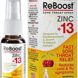 MediNatura ReBoost Zinc +13 Sore Throat Spray - 0.68oz Spray - Cherry   Amazon (US)